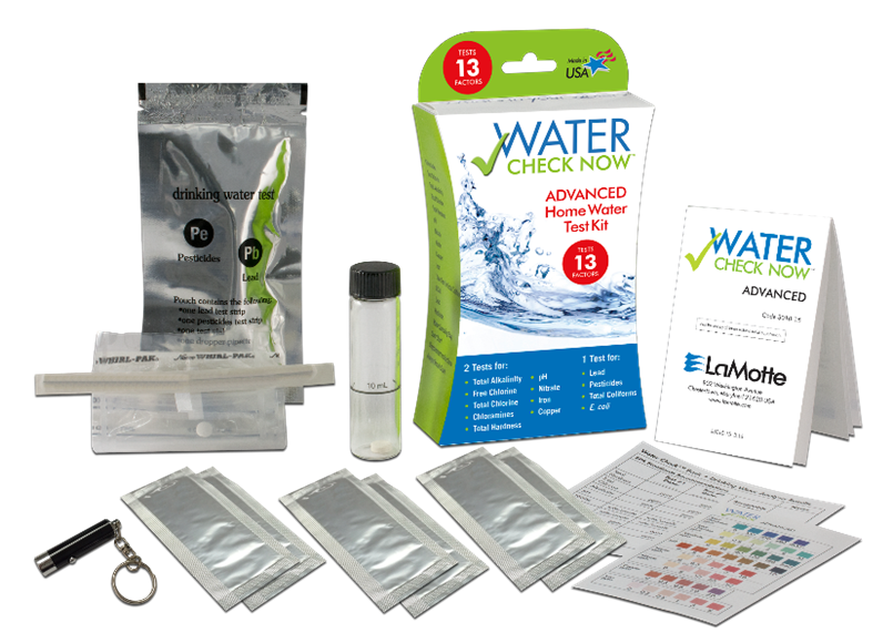 Total Alkalinity, Free Chlorine, Total Chlorine, Chloramines, Total Hardness, pH, Nitrate, Iron, Copper, Lead, Pesticides, Total Coliforms & E. Coli